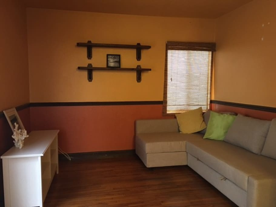 The family room has new a sofa bed which can turn into queen bed easily, accommodating extra guests.