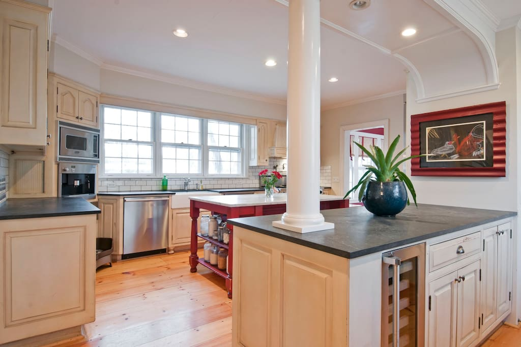 Wine refrigerator, two islands and bar stools make this a popular room at Lakewood House!