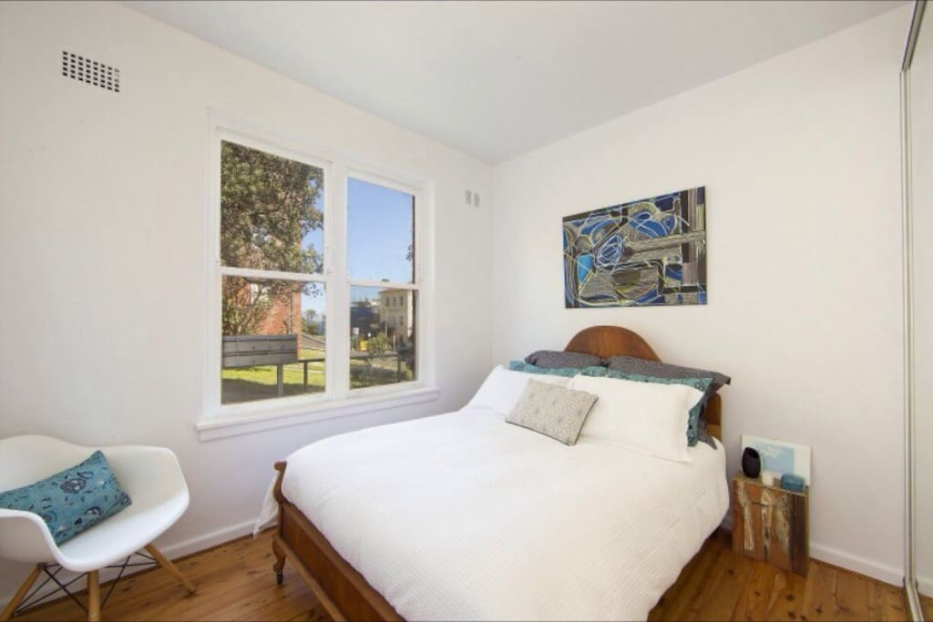 Bedroom - with window that opens to allow the sea breeze to blow through