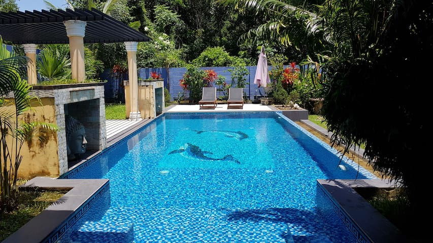 Lotus Villa Living room&Bedroom with private pool