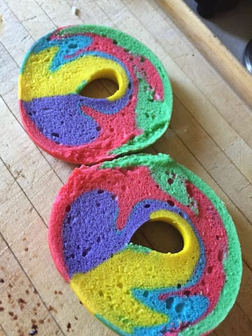 Rainbow bagels from our local bakery!