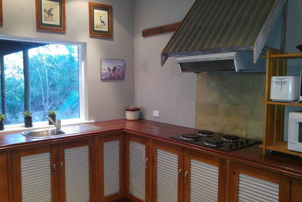 Recycled timber kitchen with hotplates and microwave.