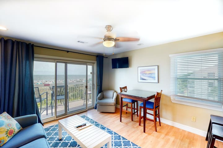 New listing! Ideal retreat w/ beach access, private balcony, & shared pool!