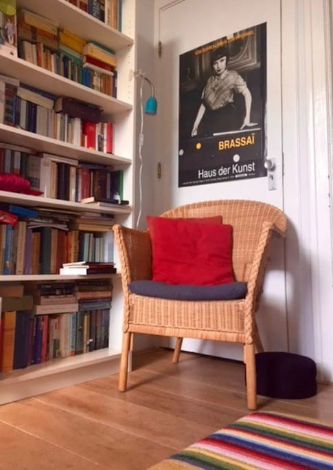 Reading nook complete with books and demanding matron