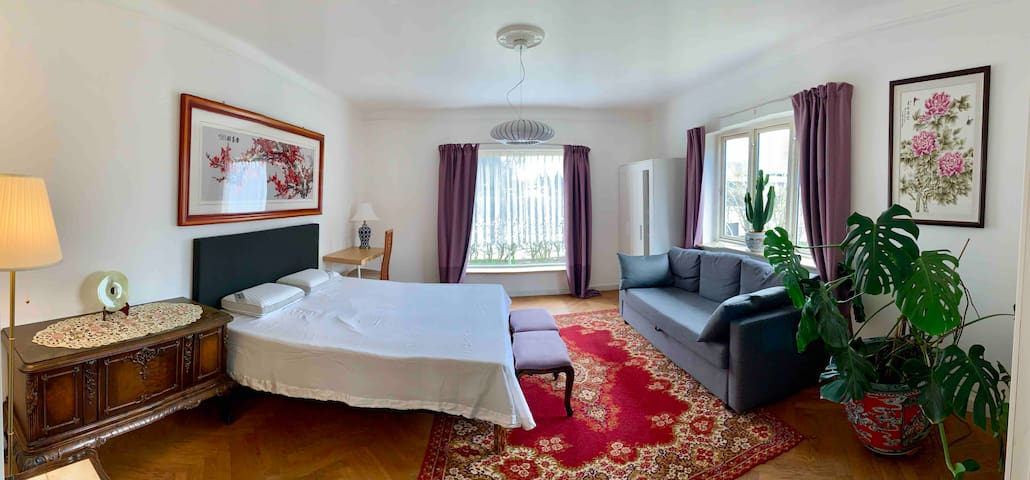 Newly renovated room with balcony and garden. 2