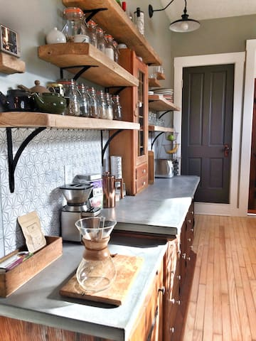 Kitchen- Stocked with everything you need, including our favorite local coffee & tea.