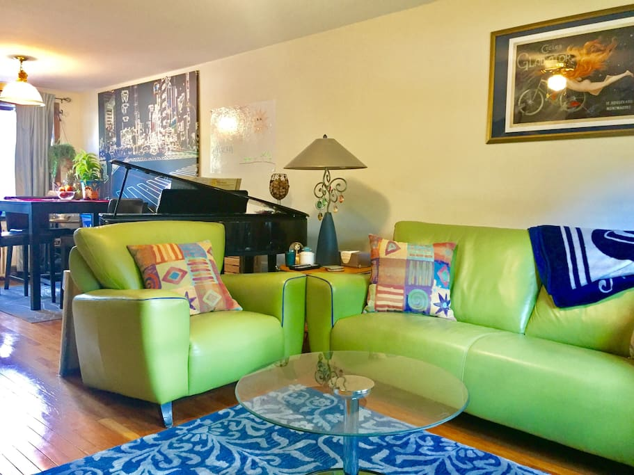 A fun and bright space to relax, and you are welcome to play the piano if you wish :)