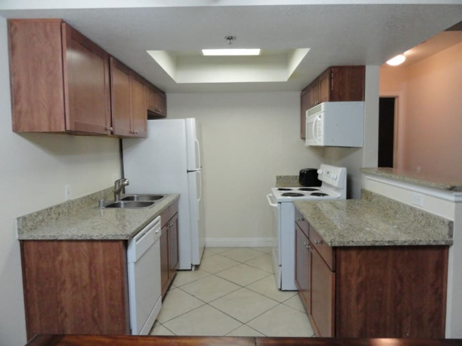 Kitchen has all appliances, and everything else you will need during your stay.