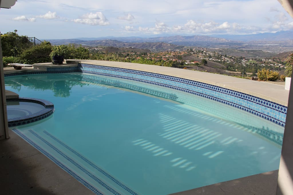 View with pool and jacuzzi