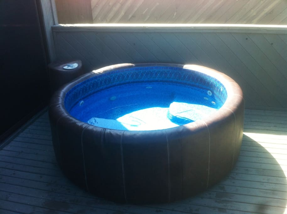 5 feet diameter, 3-4 person hot tub right on your own private huge 2nd story patio.