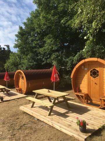 Overnatningstønde på Ristinge Camping