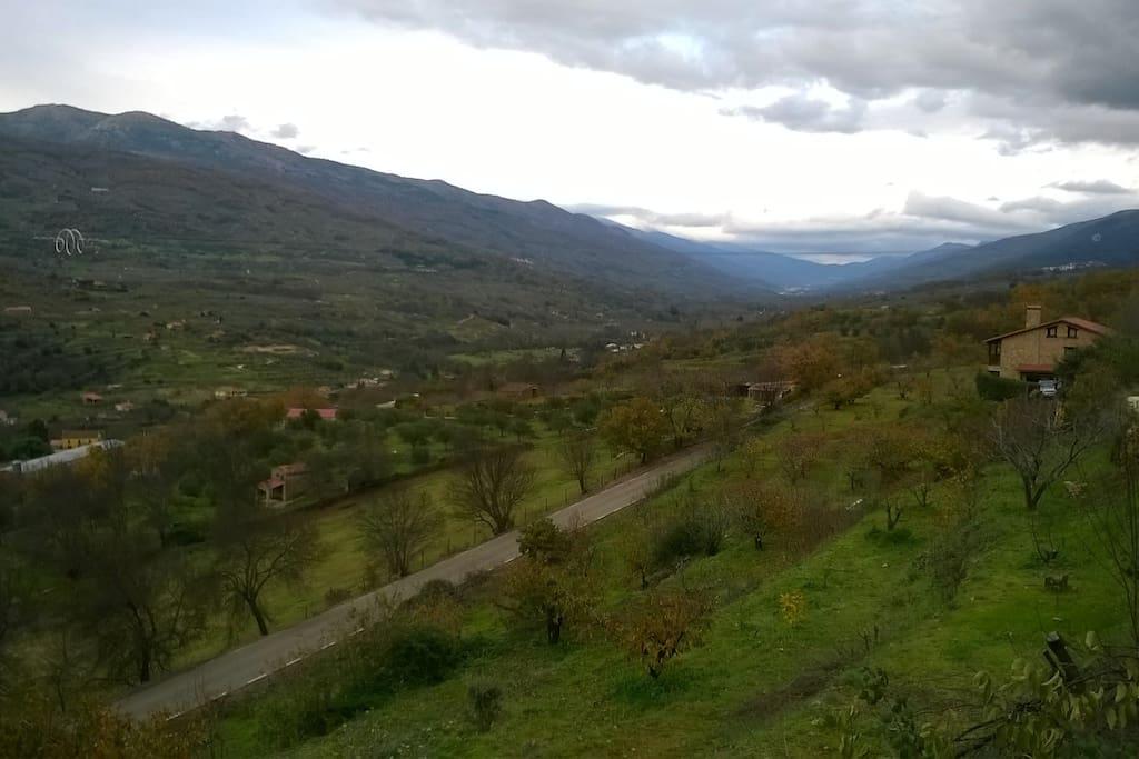 La finca, la casa y el Valle del Jerte al fondo.