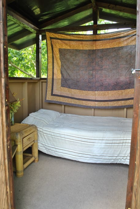 Comfortable bed in private small cabin