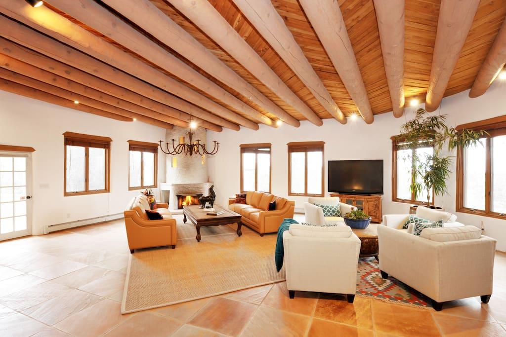 Expansive designer living room.