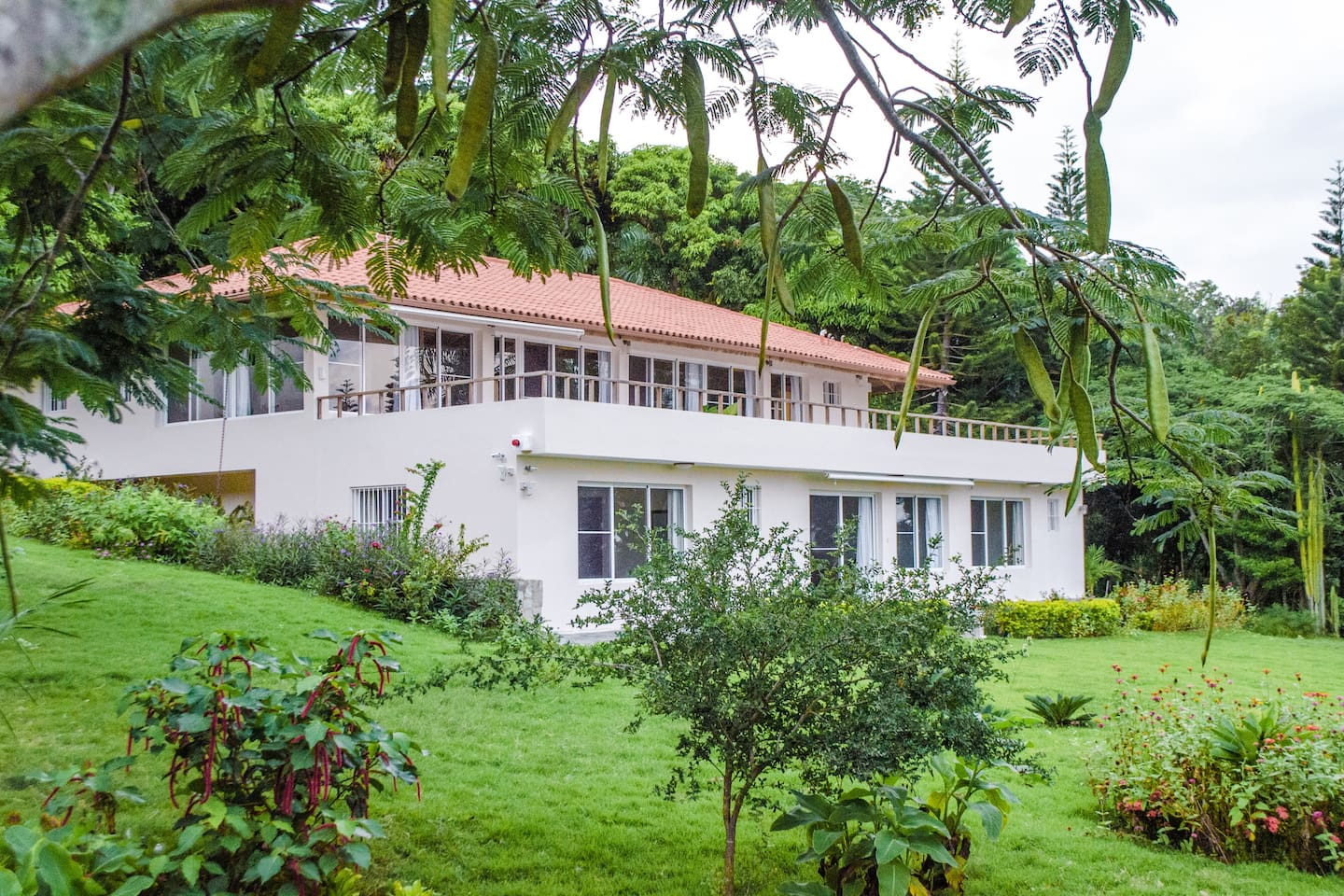 The villa where your room is located, on the bottom floor, far corner, quiet and privacy! The two-bedroom apartment where it's located has its own entrance; the living has a sliding door opening up n the terrace.
