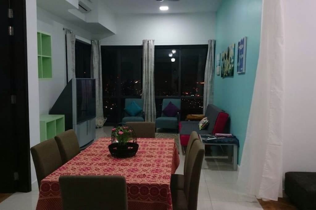 Spacious dining and living area