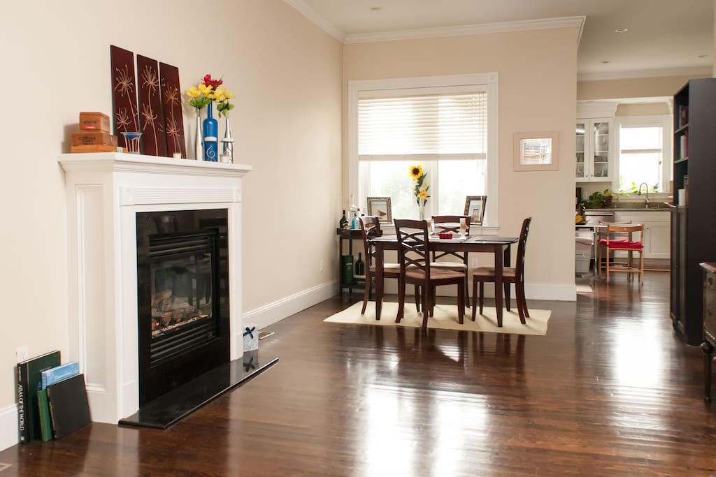 Fireplace and dining room