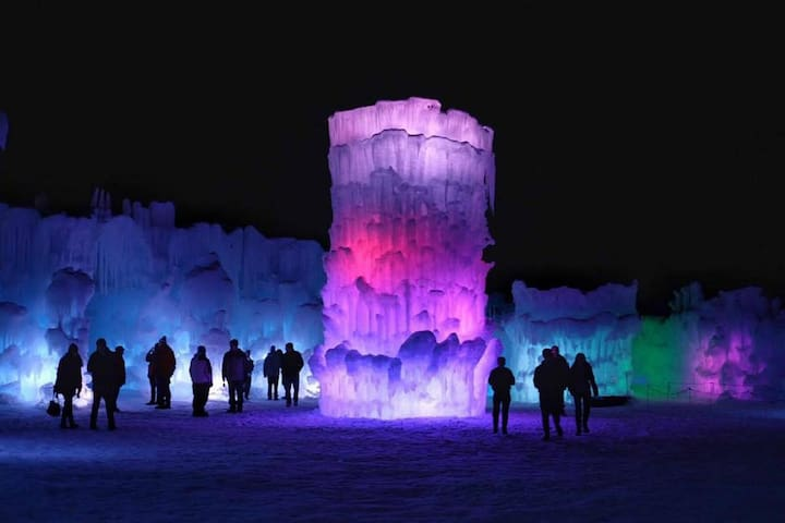 Ice Castles in January and February in nearby North Woodstock