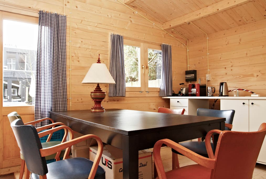 Interior offers big dining table, plenty of chairs
