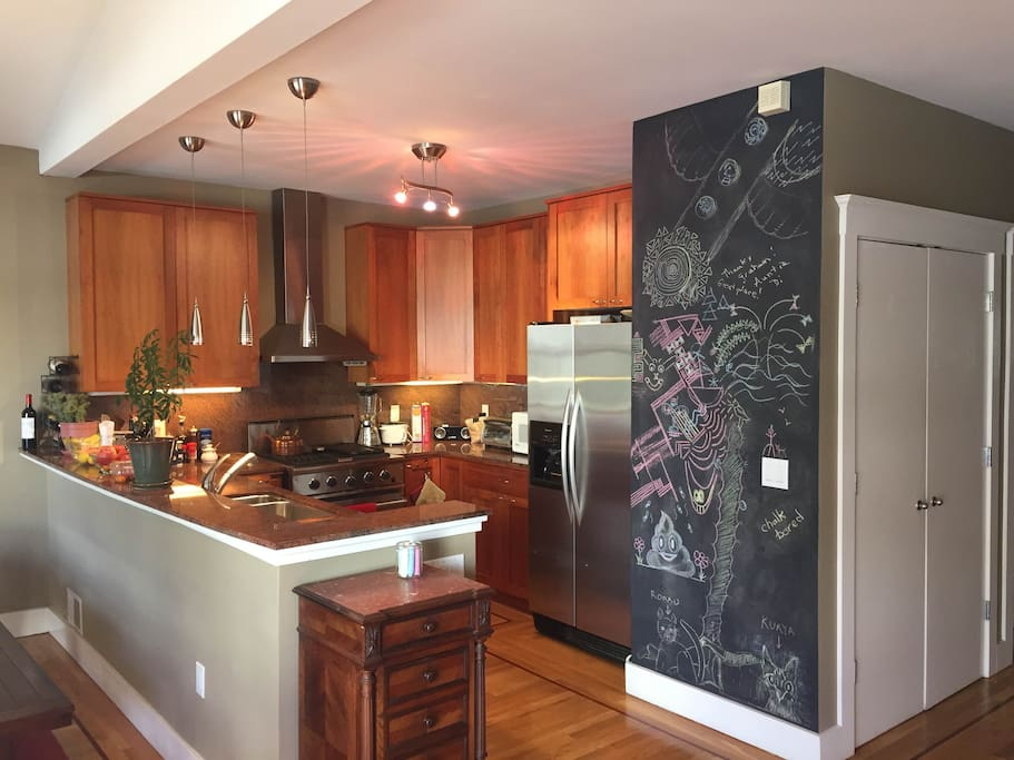 There's plenty of counter space and amenities if you choose to forgo all the neighborhood's restaurants for a night of cooking in.