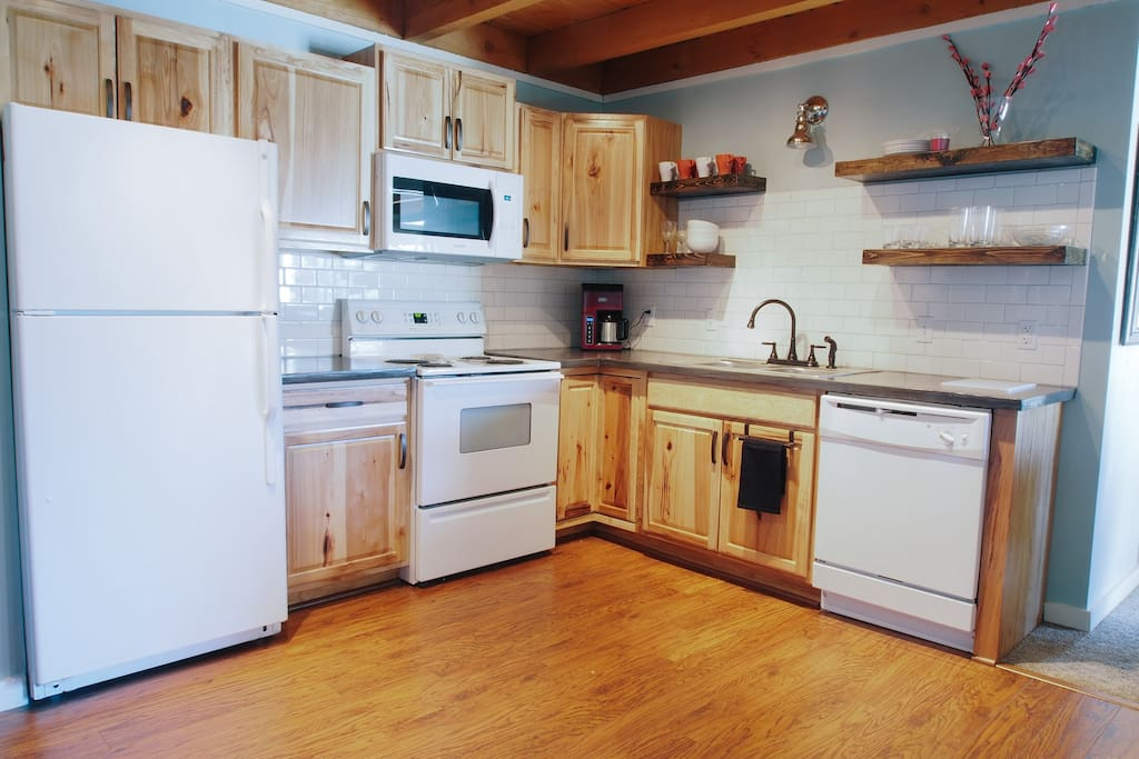Newly remodeled kitchen with concrete countertops