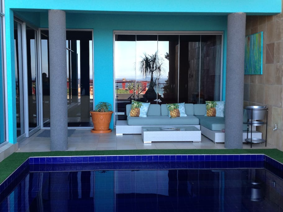 Guests have access to the heated pool and lounge area.