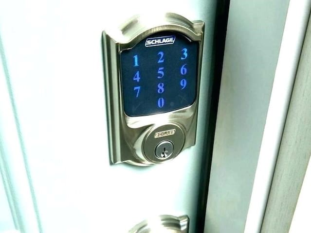 Rest assured that during your check-in process you'll never have to search for a hidden key :) Secure keypad deadbolt on unit door with auto-locking feature. Keypad locking exterior gate as well.