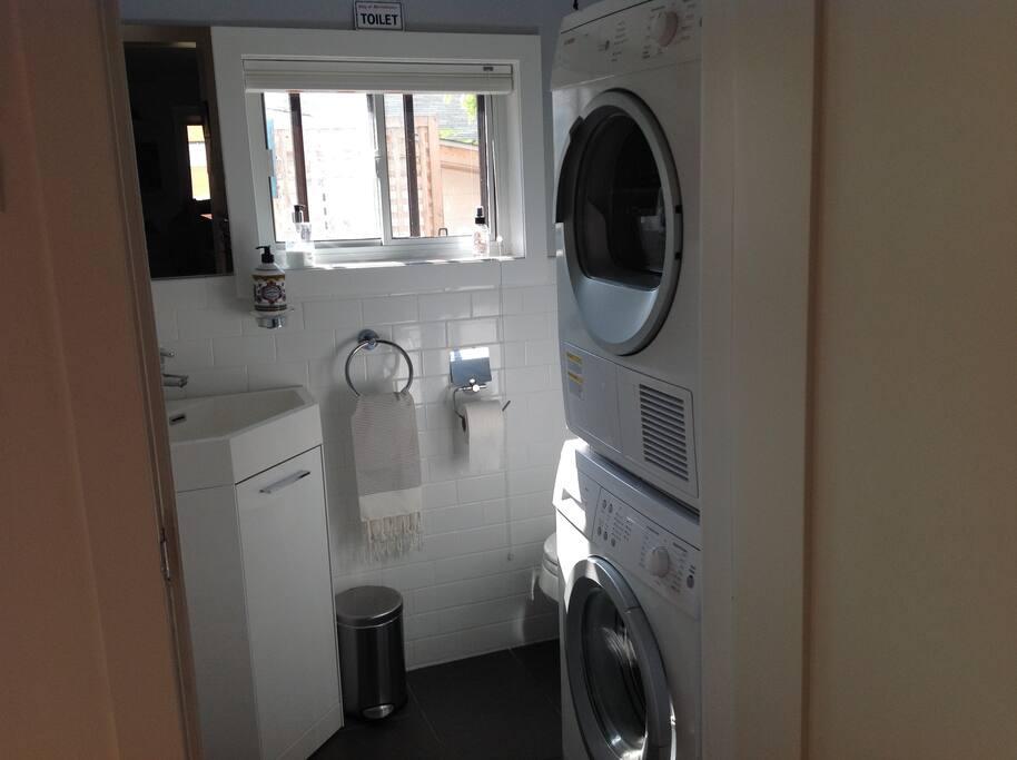 Ground floor washroom, washer and dryer.