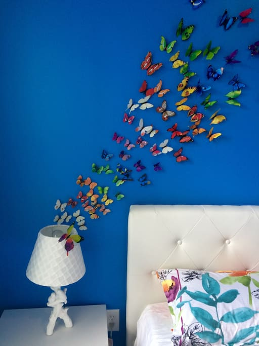 Butterfly 3D mural in master bedroom