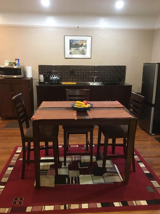 Dining table and Kitchenette.