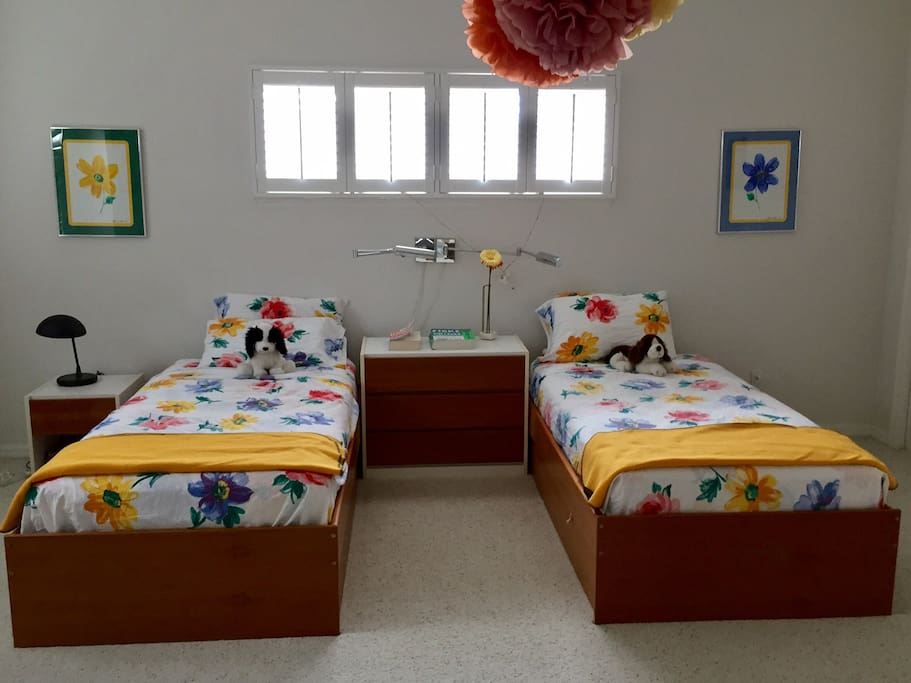 Twin beds for children or adults.