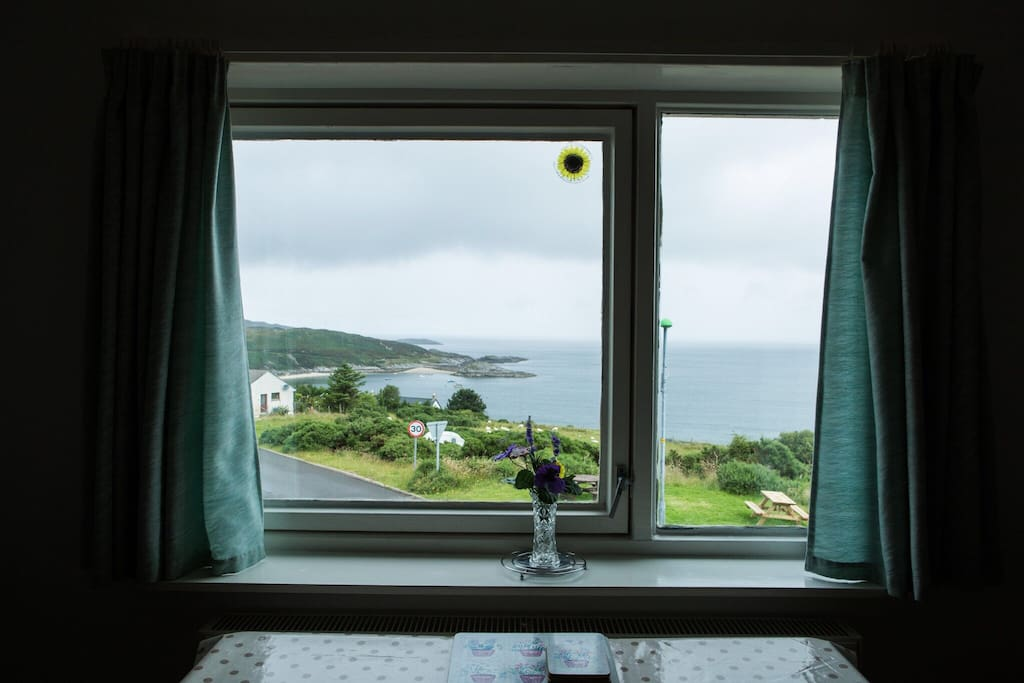 Looking out from the lounge window north across Talmine Bay
