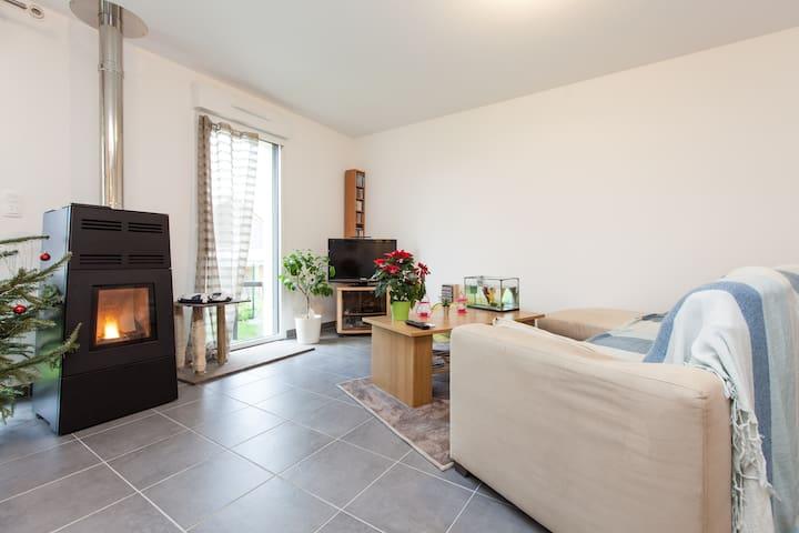 chambres sur jardin - Saint-Aubin-d'Aubigné - Rumah