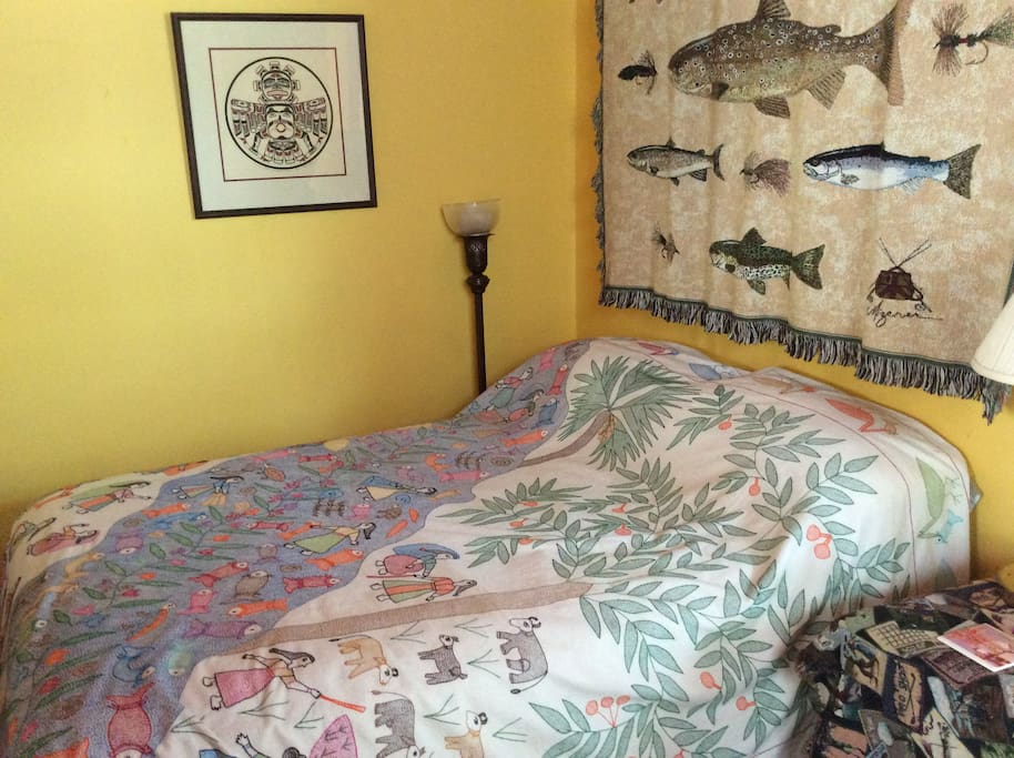 Double Bed with Hand quilted Sujuni Bedspread.