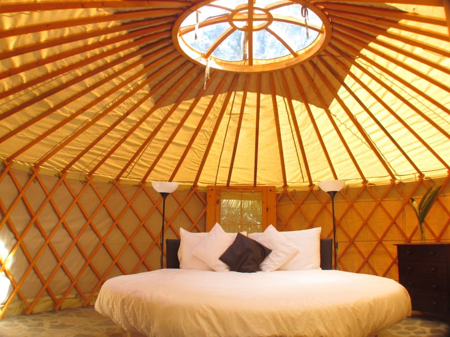 Unique round bed in a round Yurt