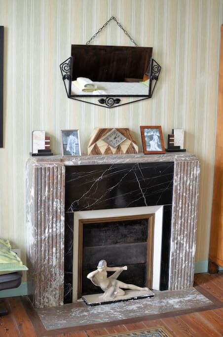 The Art Deco fireplace in the Poirot Room
