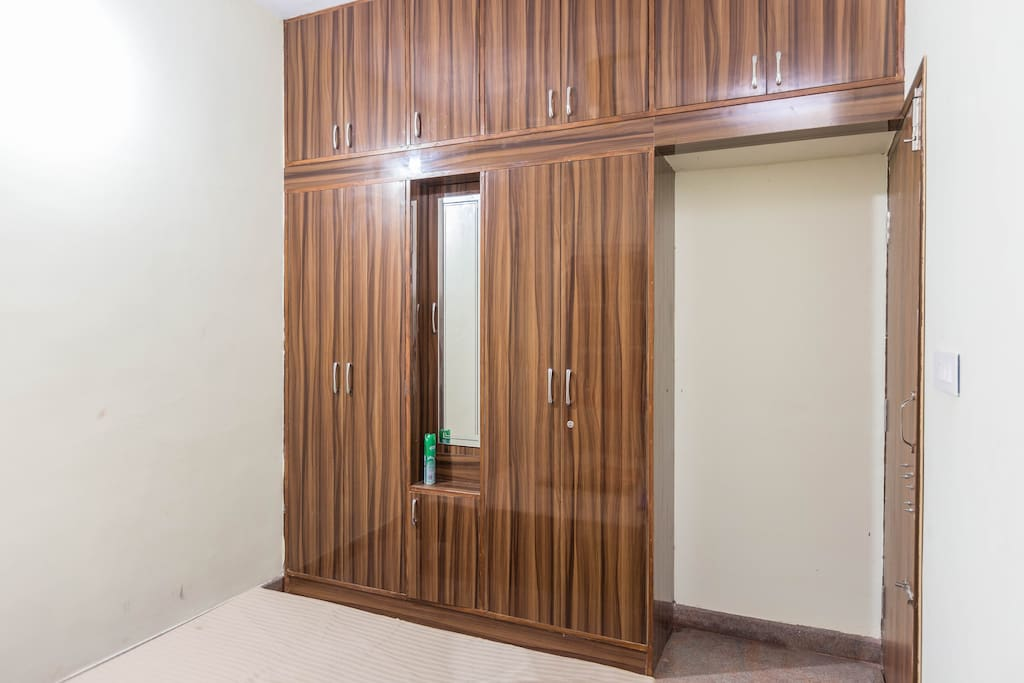 Master bedroom with attached Bero-cum cupboard with Dressing mirror and Personal drawer. Fine circulation of Natural Air.