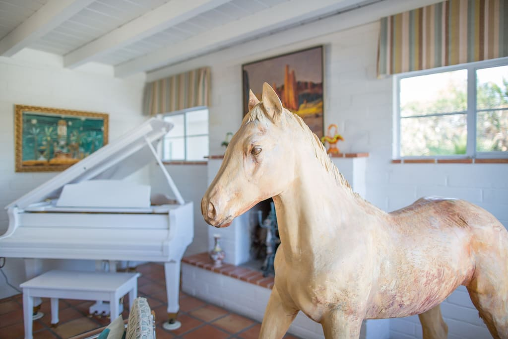 Carved Basswood colt watches over the living room