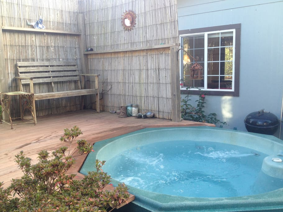 Completely relax and enjoy yourself in the private hot tub...