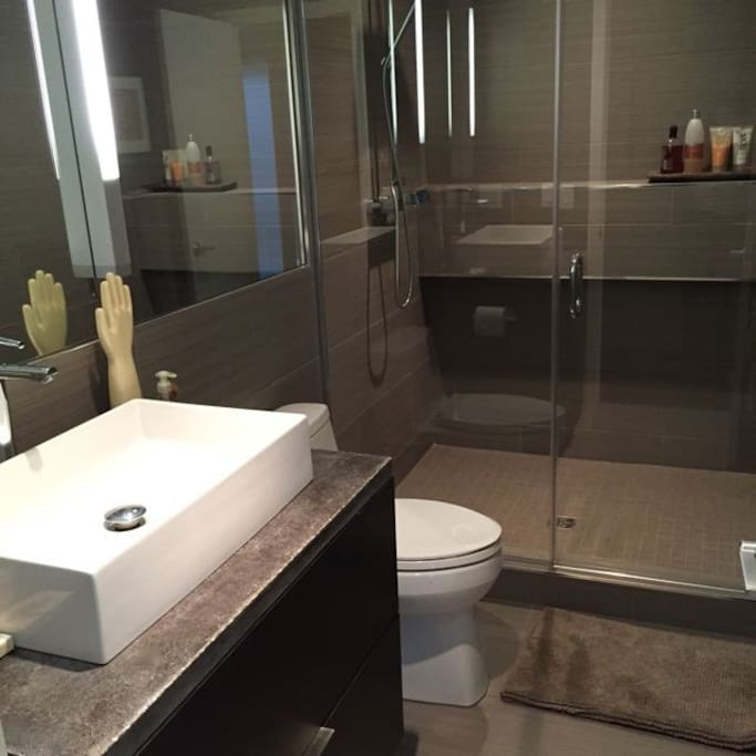 Private Euro style bath with large walk in shower