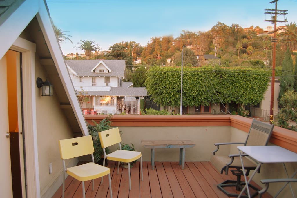 Rooftop deck. Views of the Hollywood Hills.