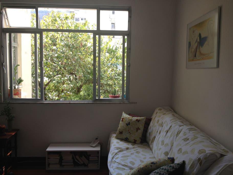 Janela com vista verde e uma corrente de vento deliciosa! Sofá confortável para dormir, no caso de hóspede extra.