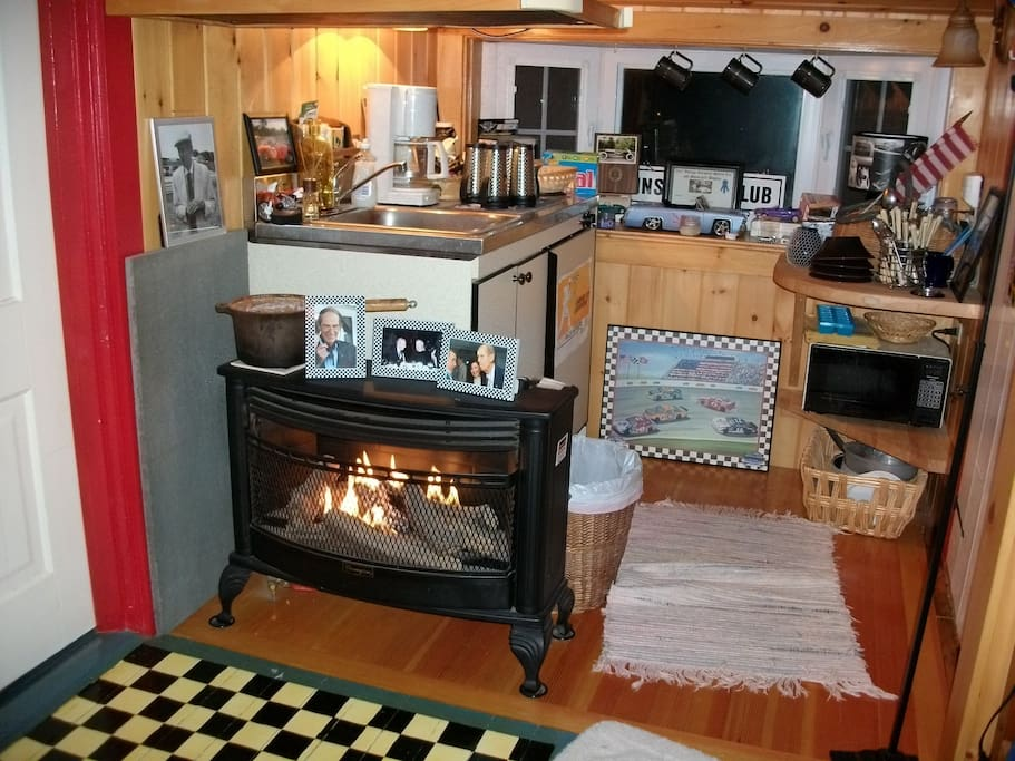 Kitchenette with mini fridge....and Fire Place