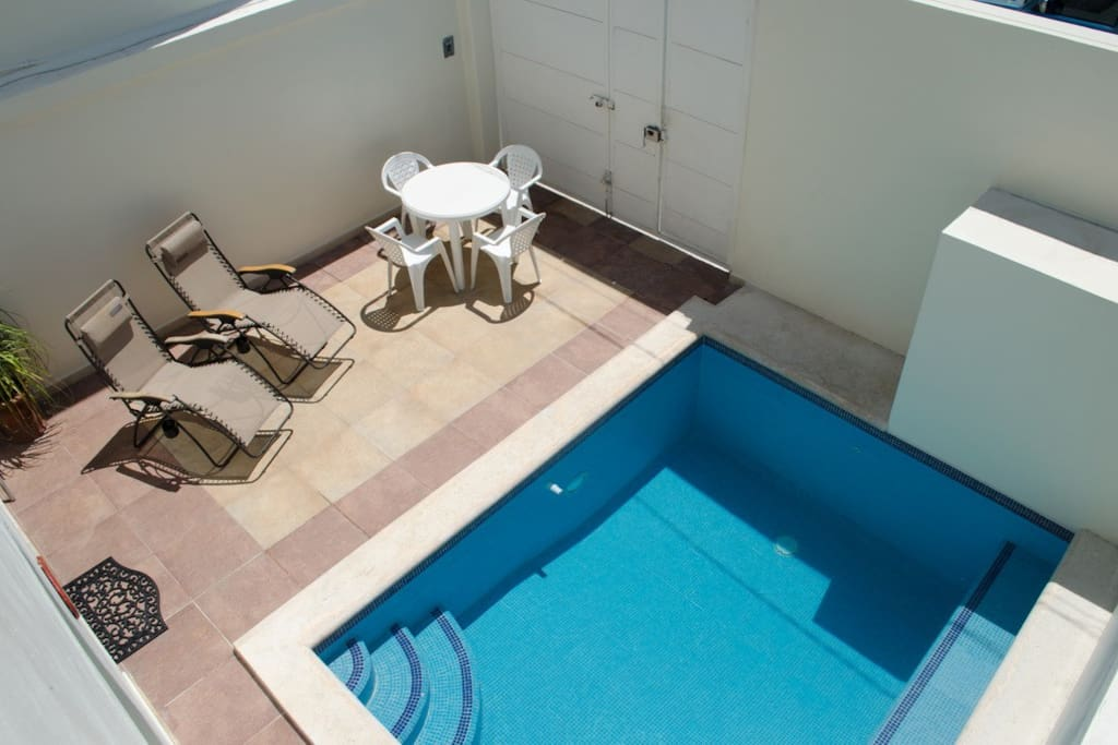 View of the front patio and pool