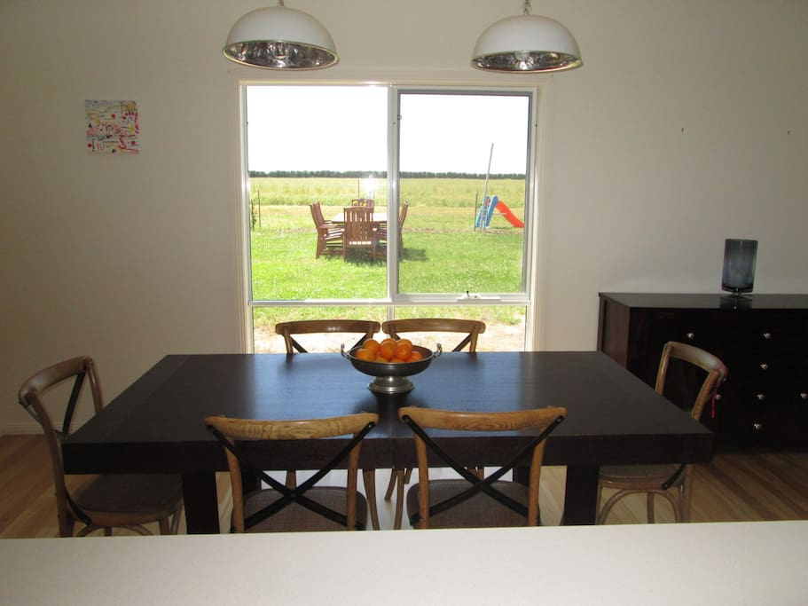 The dining area with an extendable table for larger groups.