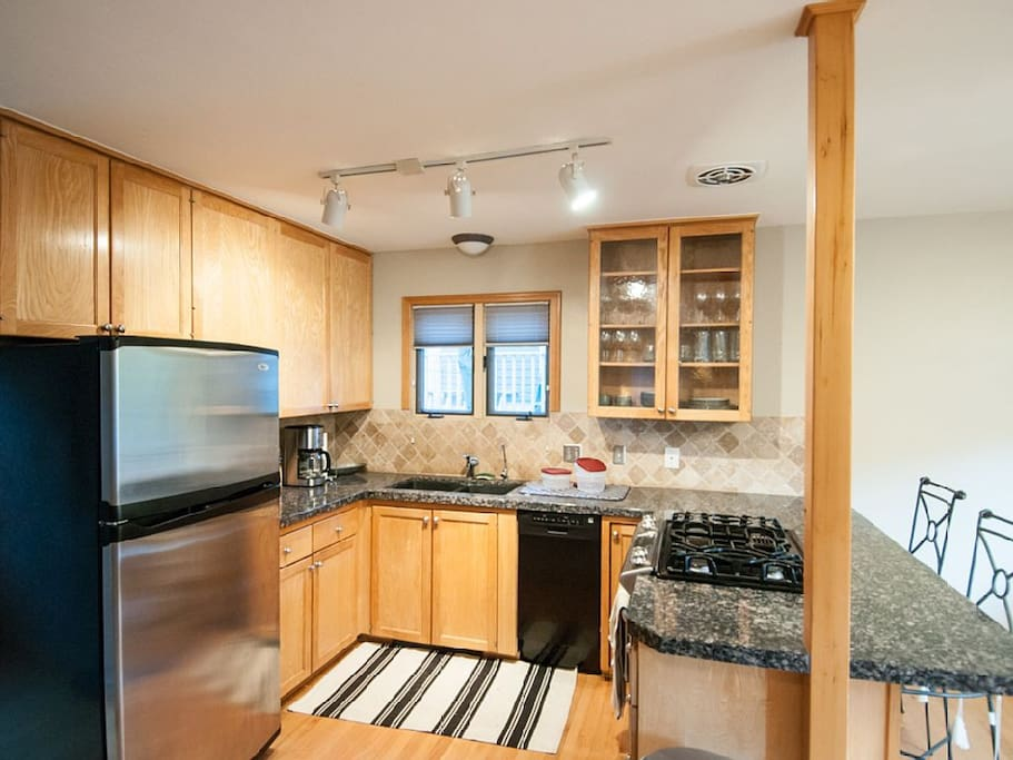 Professionally equipped kitchen.