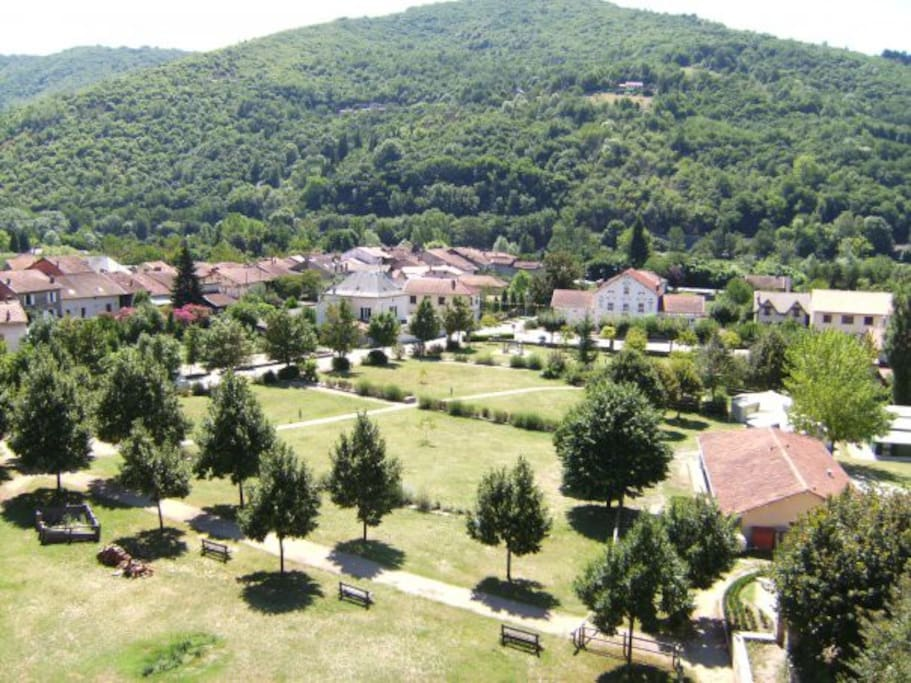 The village of Bouillac - the charcuterie, the Mairie and the park as seen from the château.