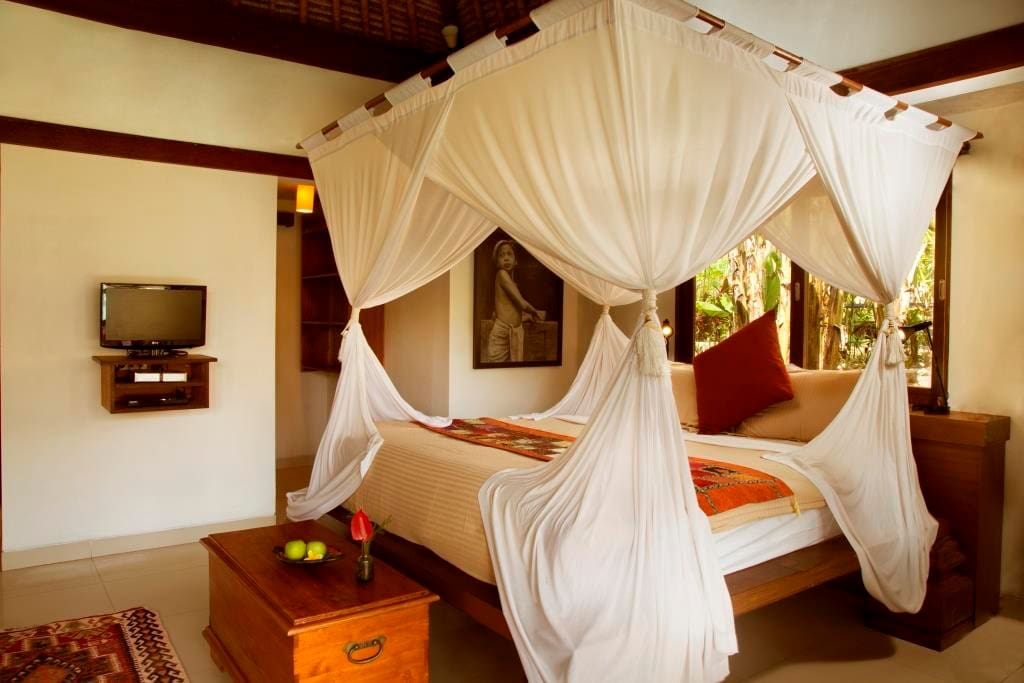 A view of the interior of Villa Prema Sari, after we added a mosquito net