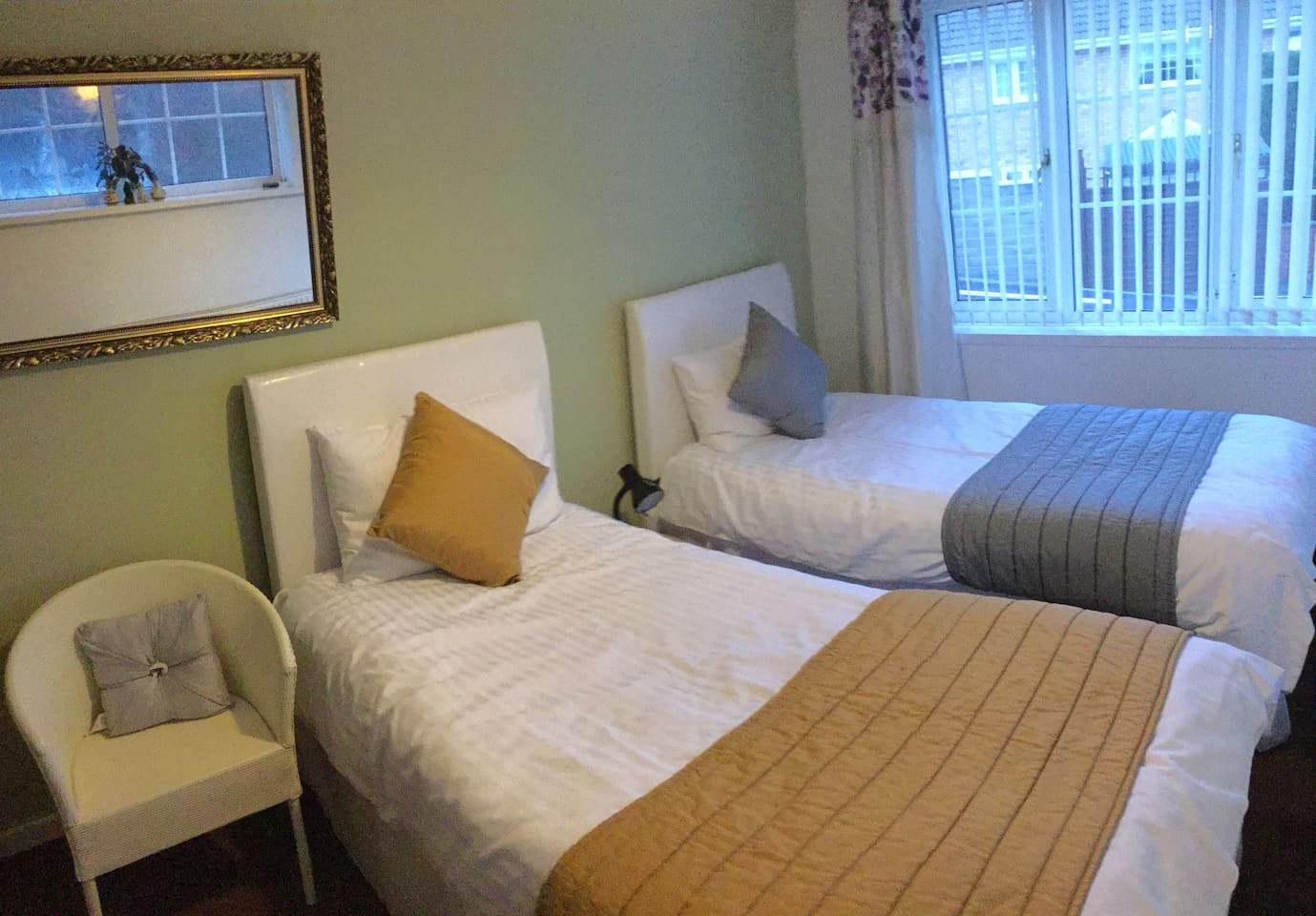 Two Single Beds with night lamp, windows, radiator and ample electric points