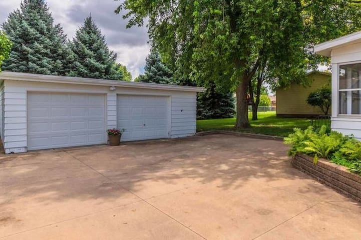 Two Car Garage with turn around area